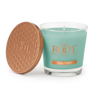 Root Candles Crisp Linen Veriglass Candle