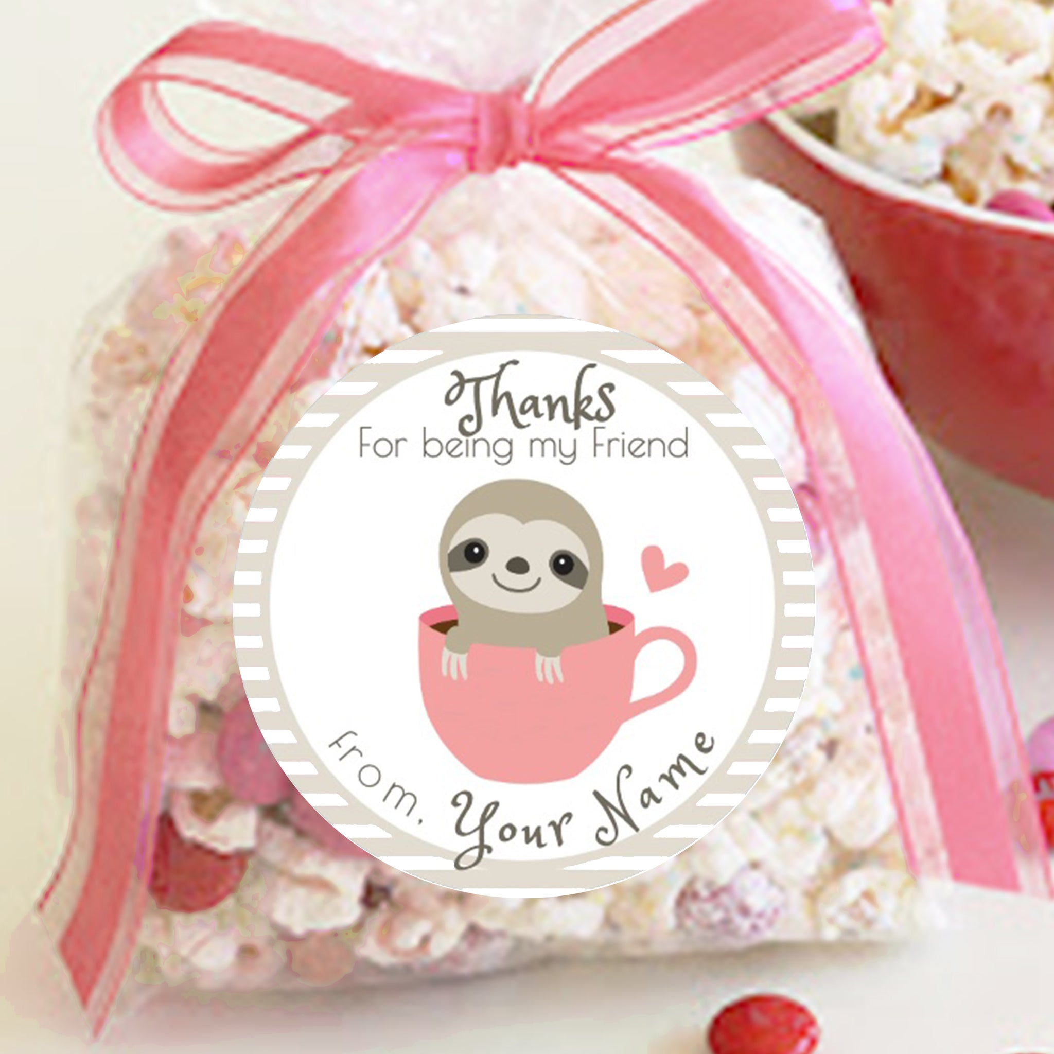 12 x Personalised Christmas Present Stickers Labels Gift Tag Sloth Candy Cane