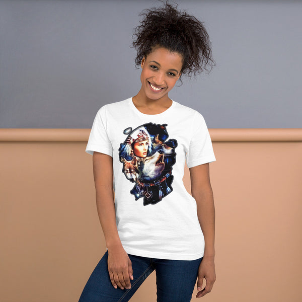 Indian woman with wolfs - Short-Sleeve Unisex T-Shirt - ArtOnAll
