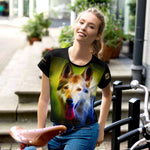 German Shepherd Neon - All-Over Print Crop Tee - ArtOnAll