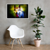 German Shepherd Neon - Framed poster - ArtOnAll