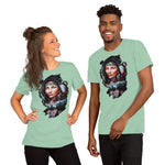 Native American woman with wolfs. - Short-Sleeve Unisex T-Shirt - ArtOnAll