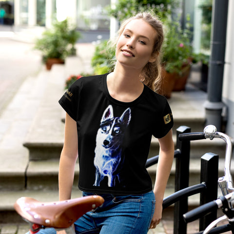 White Shepherd Neon - All-Over Print Crop Tee - ArtOnAll