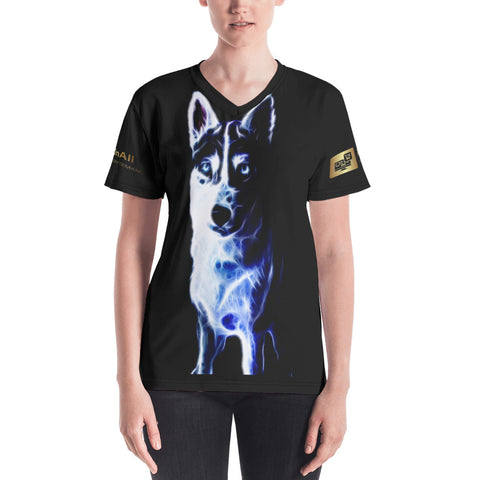 White Shepherd Neon - Women's V-neck - ArtOnAll