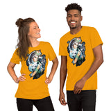 Indigenous Americans in full headdress with wolf. - Short-Sleeve Unisex T-Shirt - ArtOnAll