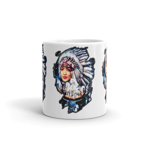 Female Native American with horses - Mug - ArtOnAll