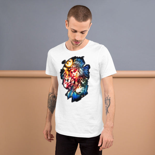 Indian woman with wolf and full moon  - Short-Sleeve Unisex T-Shirt - ArtOnAll