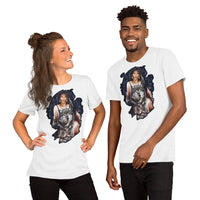 Indigenous American woman with wolfs - Short-Sleeve Unisex T-Shirt - ArtOnAll