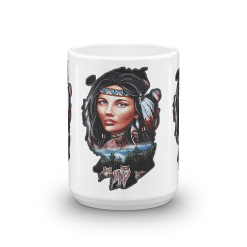 Female Native American with wolfs - Mug - ArtOnAll