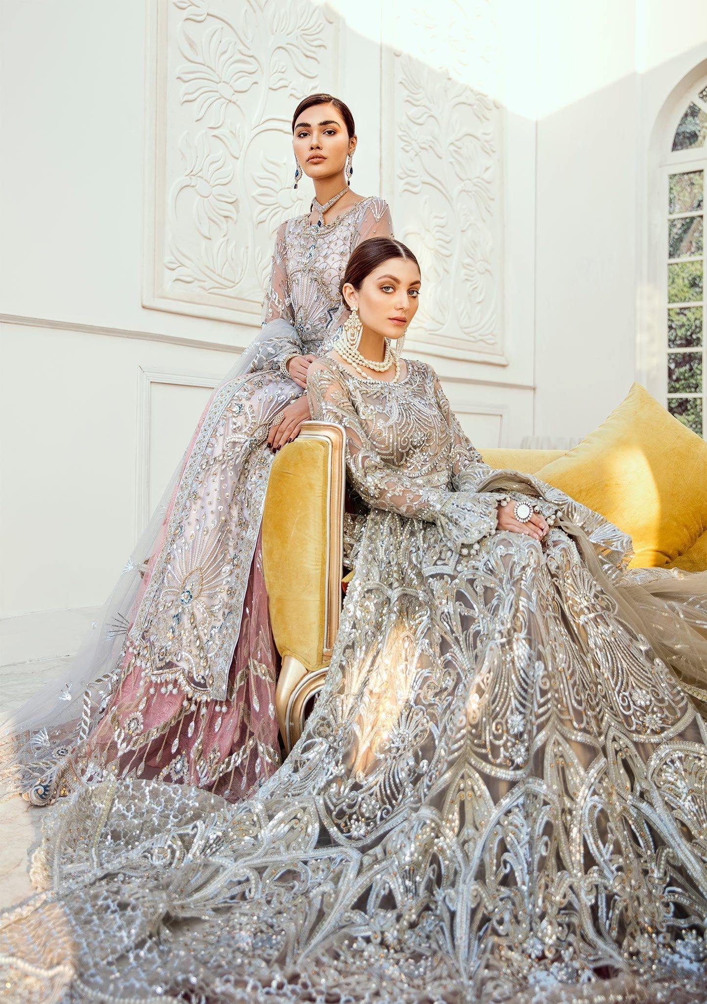 Bridal Lehenga - Rose Bud (D-04) - Maryum N Maria | A female model wearing a stunning and beautiful Bridal Dress and posing for the Photoshoot of Maryum N Maria Bridal Dresses Collection
