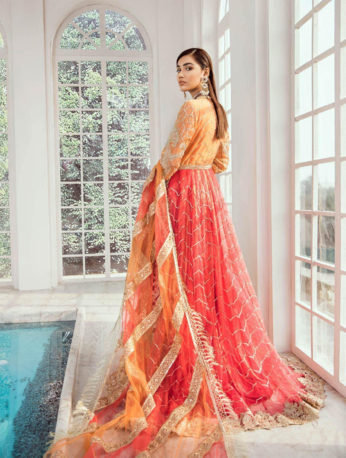 Bridal Maxi - Vermillion (D-02) - Maryum N Maria | A female model wearing a stunning and beautiful Bridal Dress and posing for the Photoshoot of Maryum N Maria Bridal Dresses Collection