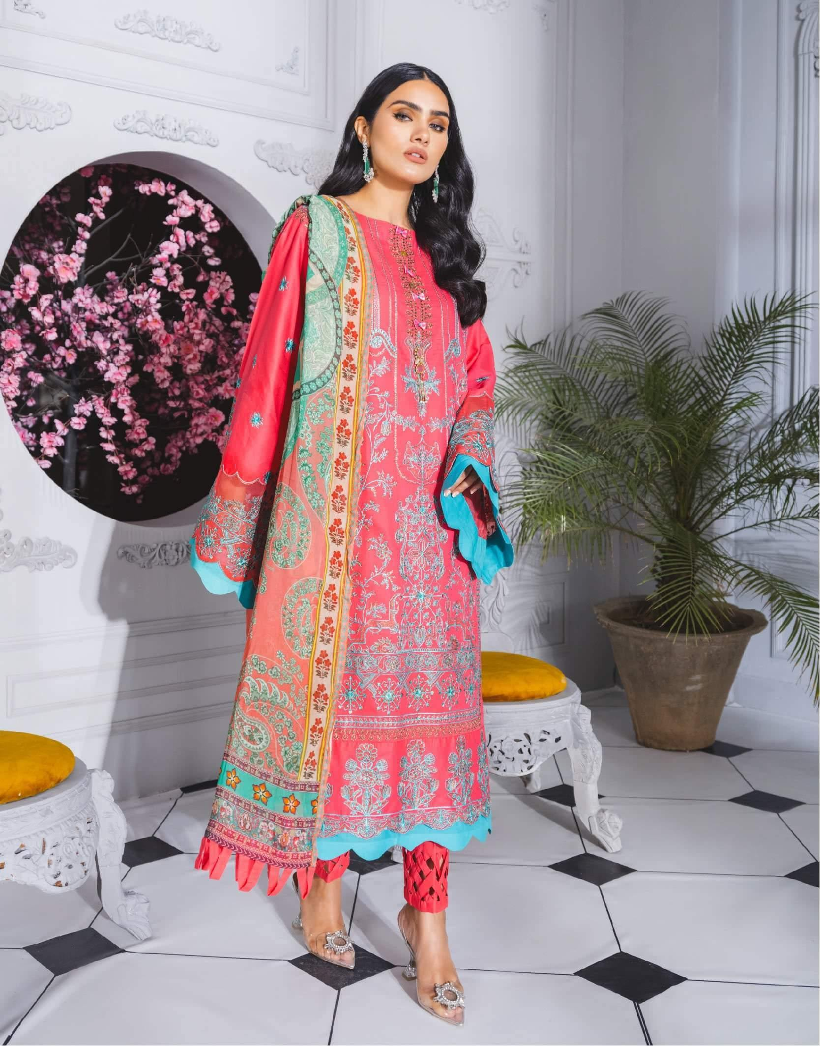 Formal Dress - Pink Time (ML-205) - Maryum N Maria | Lawn | A female model wearing a stunning and beautiful Lawn Formal Dress and posing for the Photoshoot of Maryum N Maria Lawn Collection