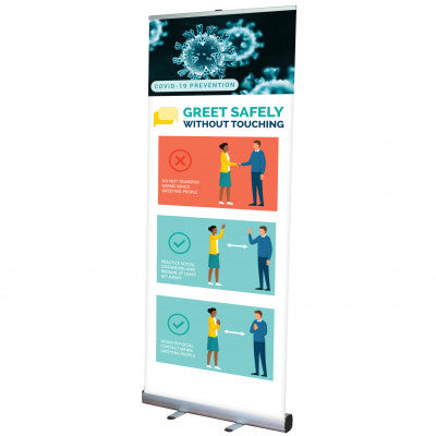 GREET SAFELY POP UP BANNER WITH STAND