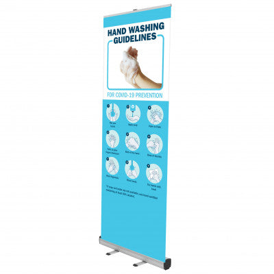 HAND WASHING POP UP BANNER WITH STAND