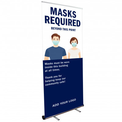 MASKS REQUIRED POP UP BANNER WITH STAND