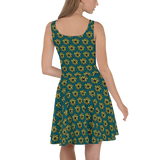 Sunflower art print skater dress by brainbat