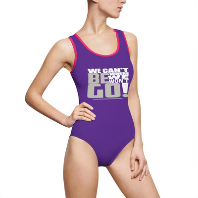 Women's Classic One-Piece Swimsuit-We Can't Be Where We Won't Go! White_Silver