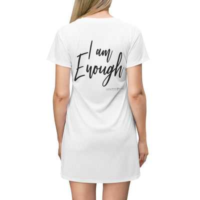 Personalized All Over Print T-Shirt Dress- I Am Enough