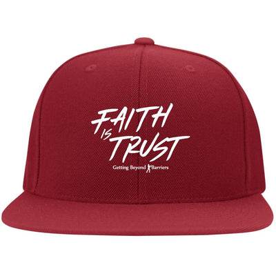 6297F Flat Bill Twill Flexfit Cap-Faith Is Trust White Embroidered - GBB Inspirations