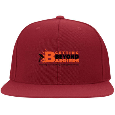 6297F Flat Bill Twill Flexfit Cap-GBB Action Logo Embroidered Orange_Black - GBB Inspirations