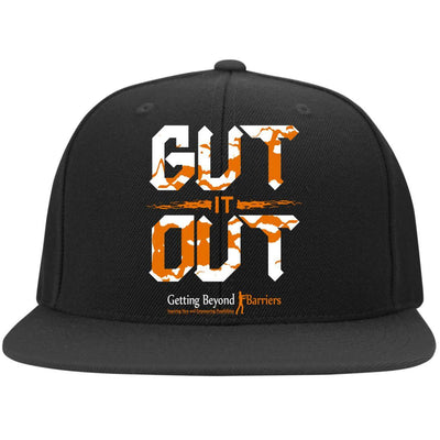6297F Flat Bill Twill Flexfit Cap-Gut It Out Wht/Orange - GBB Inspirations