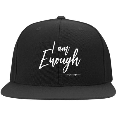 6297F Flat Bill Twill Flexfit Cap-I Am Enough White - GBB Inspirations