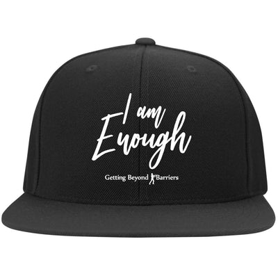 6297F Flat Bill Twill Flexfit Cap-I Am Enough White Embroidered - GBB Inspirations