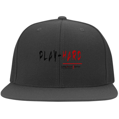 6297F Flat Bill Twill Flexfit Cap-PLAY HARD - GBB Inspirations