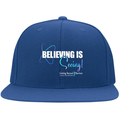 6297F Flat Bill Twill Flexfit Cap-Seeing Is Believing White - GBB Inspirations