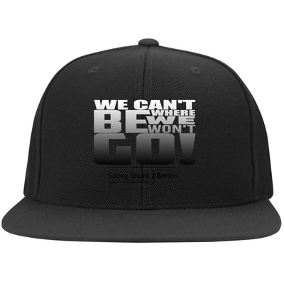 6297F Flat Bill Twill Flexfit Cap-We Cant Be Where We Wont Go Silver Metallic - GBB Inspirations