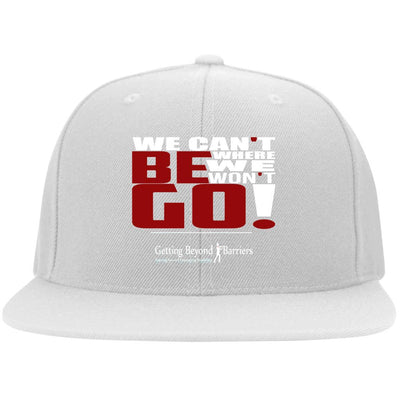 6297F Flat Bill Twill Flexfit Cap We Cant Be Where We Wont Go White - GBB Inspirations