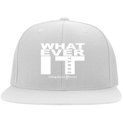 6297F Flat Bill Twill Flexfit Cap-Whatever It Takes White Embroidered - GBB Inspirations