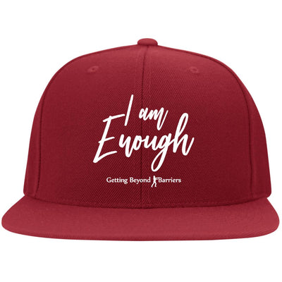 6297F Flat Bill Twill Flexfit Cap-I Am Enough  White Embroidered