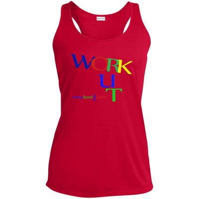 LST356 Ladies' Racerback Moisture Wicking Tank-WORK OUT!