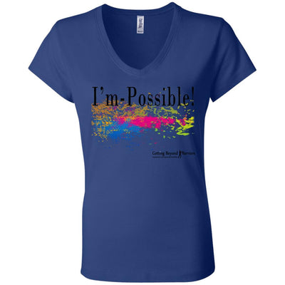 B6005 Ladies' Jersey V-Neck T-Shirt-I'm Possible - GBB Inspirations