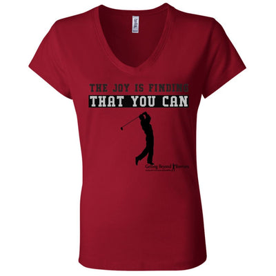 B6005 Ladies' Jersey V-Neck T-Shirt-The Joy Is Finding That You Can - GBB Inspirations