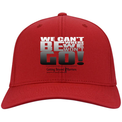 C813 Flex Fit Twill Baseball Cap-We Cant Be Where We Wont Go Silver Metallic - GBB Inspirations
