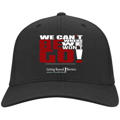 C813 Flex Fit Twill Baseball Cap- We Cant Be Where We Wont Go White - GBB Inspirations