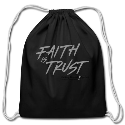 Cotton Drawstring Bag-Faith Is Trust Silver - GBB Inspirations