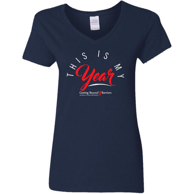 G500VL Ladies' 5.3 oz. V-Neck T-Shirt-This Is My Year - GBB Inspirations