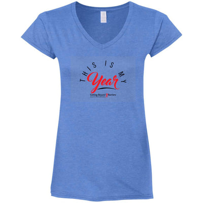 G64VL Ladies' Fitted Softstyle 4.5 oz V-Neck T-Shirt - GBB Inspirations