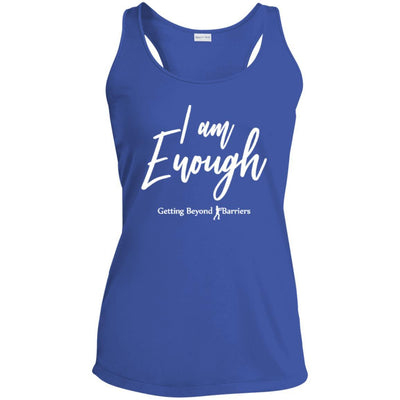 Ladies' Racerback Moisture Wicking Tank-I Am Enough White - GBB Inspirations