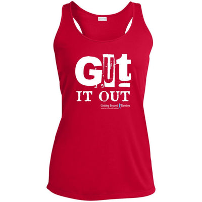 LST356 Ladies' Racerback Moisture Wicking Tank-Gut It Out White - GBB Inspirations
