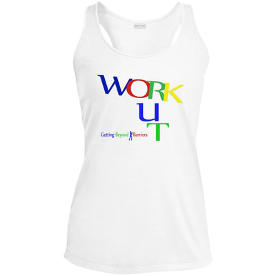 LST356 Ladies' Racerback Moisture Wicking Tank-WORK OUT! - GBB Inspirations