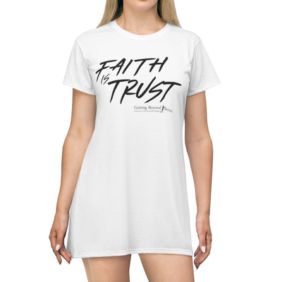 Personalized All Over Print T-Shirt Dress- Faith Is Trust - GBB Inspirations