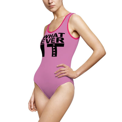 Women's Classic One-Piece Swimsuit-Whatever It Takes Black - GBB Inspirations