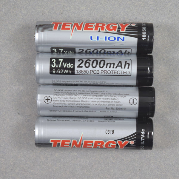 Lot of 100) Tenergy 18650 - 3.7V 2600mAh  (Li-ion)(Loose Cells))