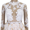 Mini Prom Cocktail Tea Mesh Lace Skater Dress White Beige