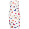 Strapless Bodycon Dress Butterfly Print