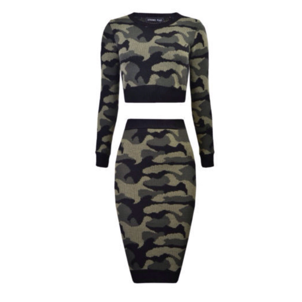 2 Piece Top Midi Knit Skirt Set Camouflage